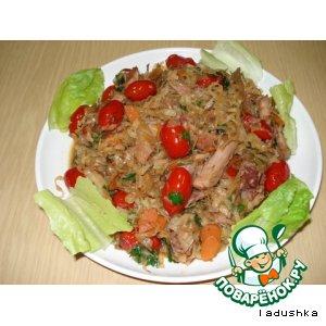 Рецепт: Салат горячий с курицей