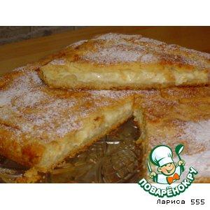 Рецепт: Пирог Нежность с творогом и яблоками