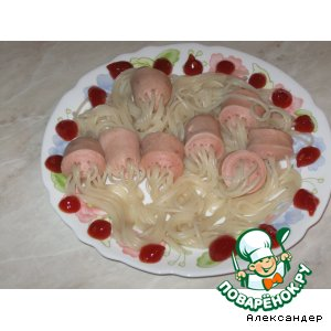 Рецепт: Спагетти в сосисках