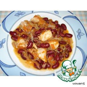 Рецепт: Курица с фасолью и томатами