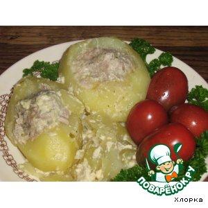 Рецепт: Тушеный фаршированный картофель
