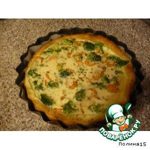 Рецепт: Пирог  с брокколи и креветками