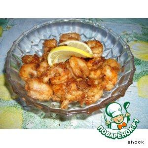 Рецепт: Креветки жареные с чесноком