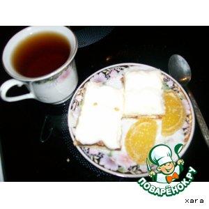 """Рецепт: Песочно-фруктовое пирожное с кремом  """"Зефир"""""""