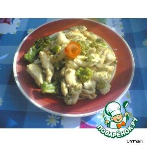 Рецепт: Грудинка курицы с брокколи