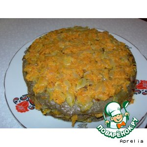 Рецепт: Печеночный торт с морковной начинкой