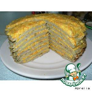 Рецепт: Печеночный торт со сливочно-морковной начинкой