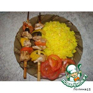 Рецепт: Куриные шашлычки и рис с кукурузой