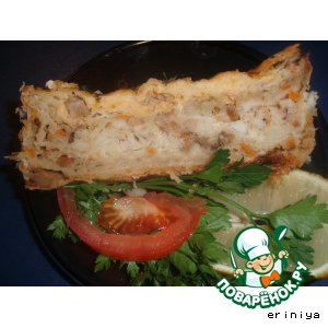 Рецепт: Пирог с рыбой Что осталось в доме
