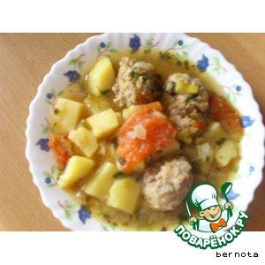 Рецепт: Картофельный суп с фрикаделькам