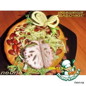 """Рецепт: Украшение из овощей для блюд  """"Бабочка"""""""