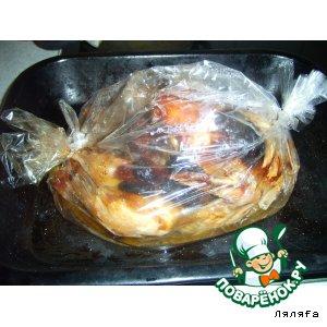 Рецепт: Курица с черносливом, курагой в пакетике