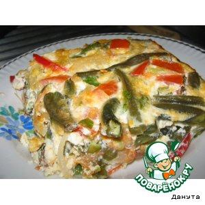 Рецепт: Зеленая фасоль, запеченная с яйцами и помидорами