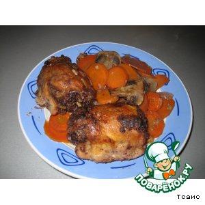 Ореховая курочка с гарниром из моркови – кулинарный рецепт