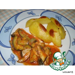Рецепт: Цуккини с томатами по-итальянски и печеным картофелем