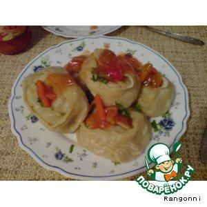 Рецепт: Манты из баранины и тыквы