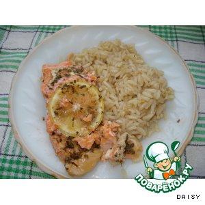 Рецепт: Рыба, запеченная в фольге, с гарниром из риса