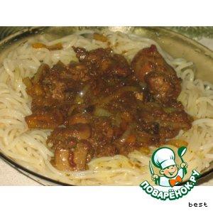Рецепт: Печень куриная под яблочно-медовым соусом