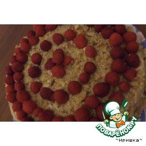 Рецепт: Медовый торт Малиновое ожерелье