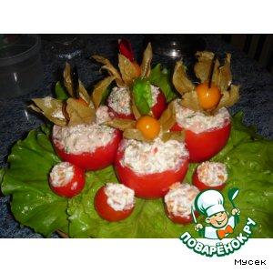 Рецепт: Фаршированные помидоры с творожно-рыбной начинкой + десерт