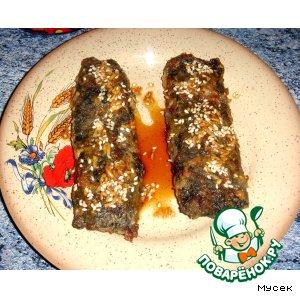 Рецепт: Рыба в морских водорослях под соево-винным соусом с кунжутом
