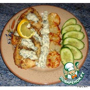 Рецепт: Рыба-гриль с розмарином под майонезно-шпинатным соусом