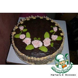 Рецепт: Торт шоколадный с творожным суфле