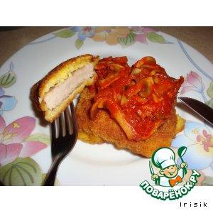 Рецепт: Отбивная с грибным соусом