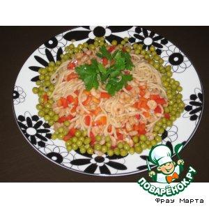 Рецепт: Теплый салат из рисовой лапши и креветок