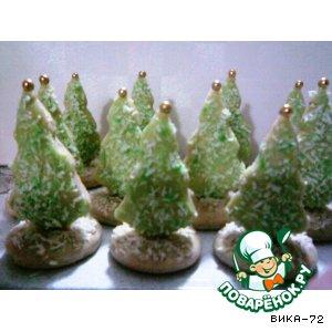 Рецепт: Новогодние пряники Зимний лес