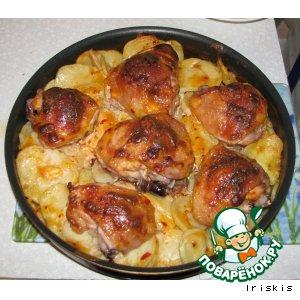 Рецепт: Курица с картофелем Пальчики оближешь