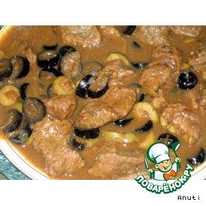 Рецепт: Говядина с кориандром и оливками