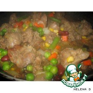 Рецепт: Нежная куриная печень с рисом и овощами