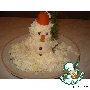 """Рецепт: Закуска """"Забавный снеговик"""""""