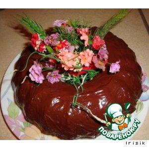 Рецепт: Мраморный кекс  с шоколадной глазурью