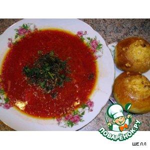 Рецепт: Борщ с черносливом и сырными ватрушками