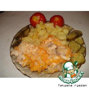 Рецепт: Рыбка со сметанкой в горшочке