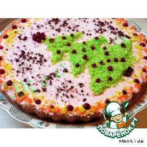 Рецепт: Творожный торт Новогодний этюд