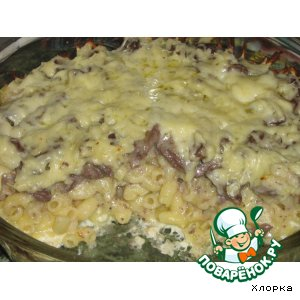 Рецепт: Запеканка из макарон и куриных сердечек