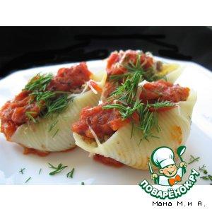Рецепт: Фаршированные конкильоне под соусом Маринара