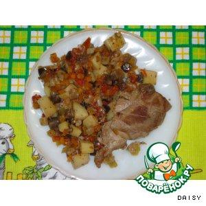 Рецепт: Мясо с овощами «Для лентяйки»