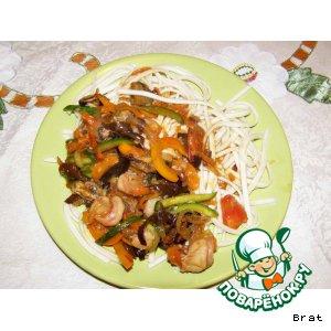 Рецепт: Креветки в устричном соусе по-китайски