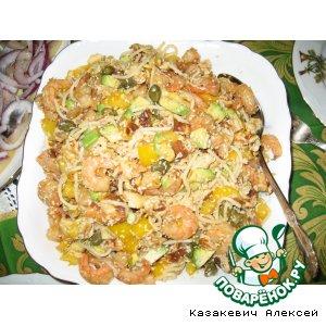 Рецепт: Салат с рисовой лапшой, сладкими креветками и авокадо