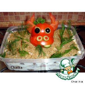 Рецепт: Салат с мясом и грибами Эпатаж