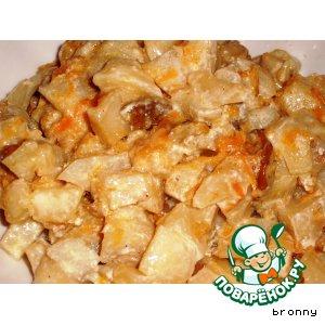 Рецепт: Картофель с белыми грибами в горшочках.