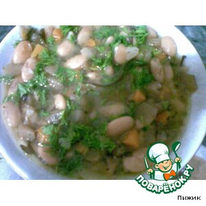 Рецепт Бобы тушеные с овощами и морской капустой