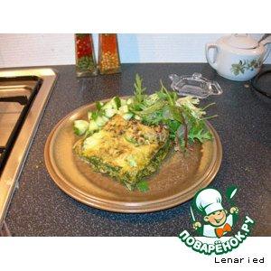 Рецепт: Зеленая лазанья с креветками с соусом песто