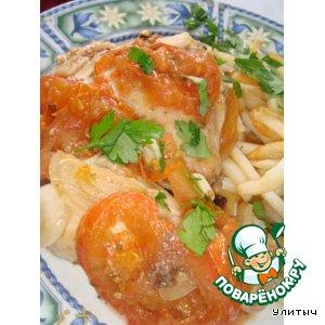 Рецепт: Запеченная курица в соусе из помидоров