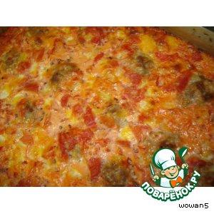 Рецепт: Рисовая запеканка в томатной подливке