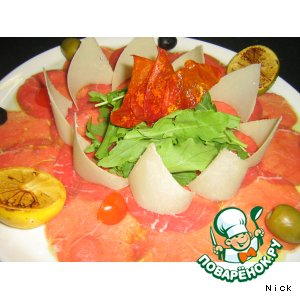 Рецепт: Карпаччо из говядины с печеными цитрусами